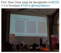 Prof. Sissi Closs zeigt die DITA Neuigkeiten in Konstanz